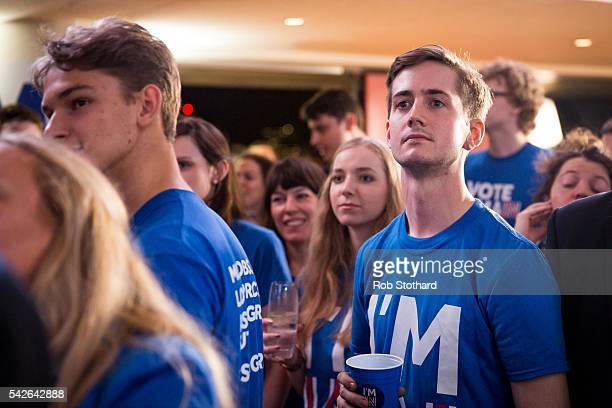 Supporters of the Stronger In Campaign react after heading the result from Orkney in the EU referendum at the Royal Festival Hall on June 23 2016 in...