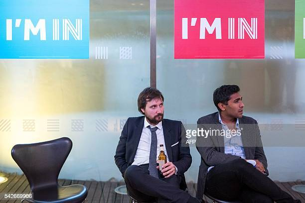 TOPSHOT Supporters of the 'Stronger In' Campaign watch the results of the EU referendum being announced at a results party at the Royal Festival Hall...