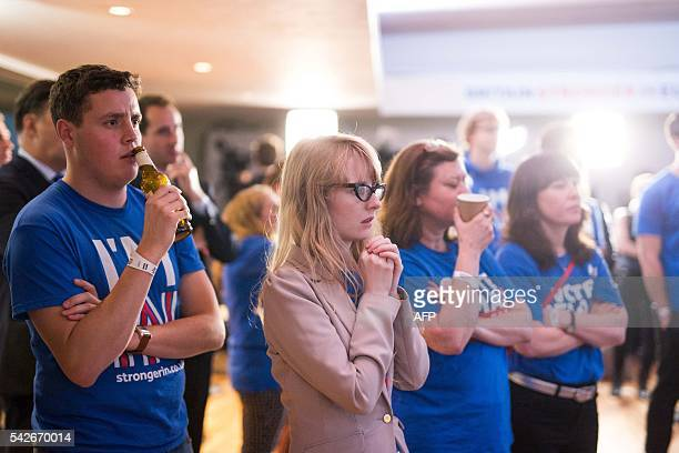 Supporters of the 'Stronger In' Campaign watch the results of the EU referendum being announced at a results party at the Royal Festival Hall in...