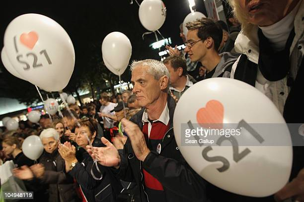 Supporters of the Stuttgart 21 train station project attend a rally in in front of City Hall on October 7 2010 in Stuttgart Germany The ambitious...