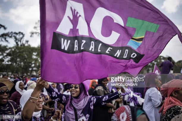Supporters of the Tanzanian opposition political party The Alliance for Change and Transparency wave a party flag during the last campaign rally, in...