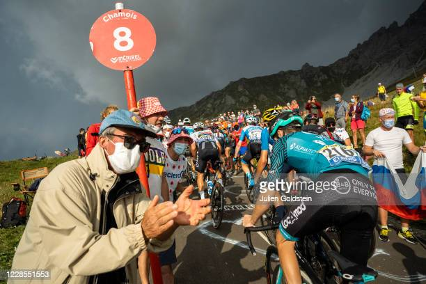 Supporters of the Tour de France cycling event cheering riders in the Col de la Loze on September 16, 2020 in Meribel, France. Considered one of the...