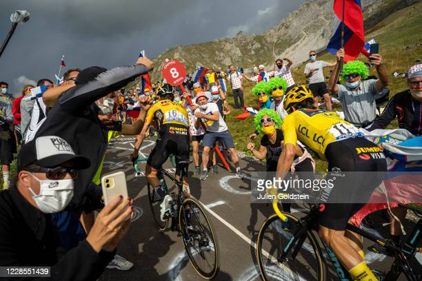 Supporters of the Tour de France cycling event cheering Sepp Kuss and Primos Roglic in the Col de la Loze on September 16, 2020 in Meribel, France....