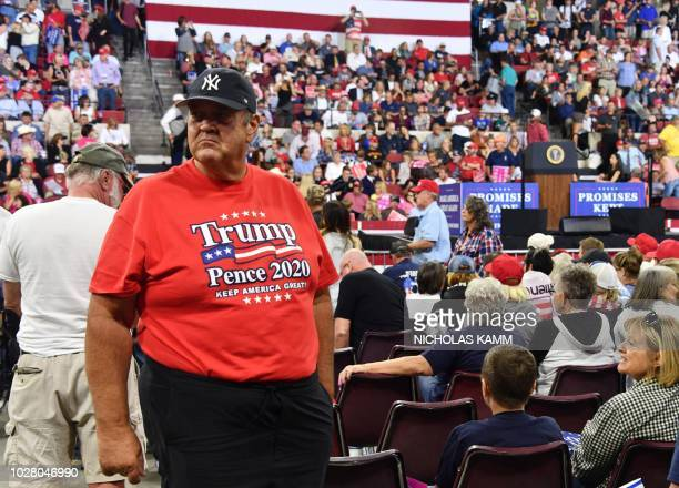 Supporters of the US president attend a Make America Great Again rally in Billings Montana on September 6 2018