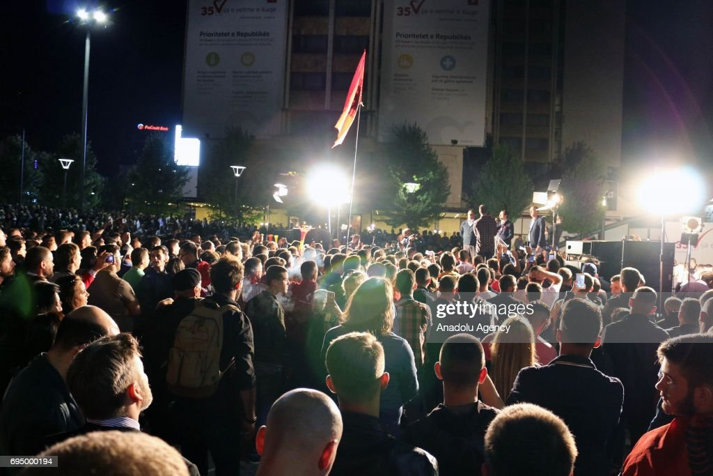 Supporters of the Vetevendosje (Self-determination) party celebrate their success according to informal results of 90 percent of the votes that were counted at Zahir Pajaziti Square in Pristina, Kosovo on June 12, 2017.
