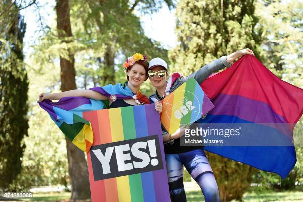 Supporters of the vote yes for marriage equality gather in Haig Park to celebrate the result on November 15 2017 in Canberra Australia Australians...