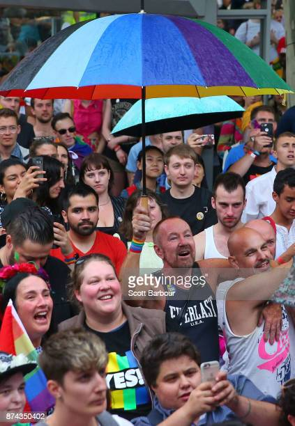 Supporters of the 'Yes' vote for marriage equality celebrate at Melbourne's Result Street Party on November 15 2017 in Melbourne Australia...