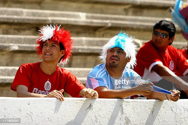Supporters of Toluca before the match against Puebla as part of the Clausura Tournament at Cuauhtemoc Stadium on April 10 2011 in Puebla Mexico