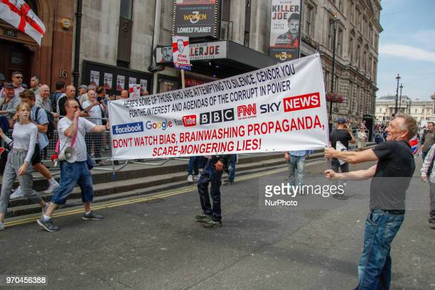 Supporters of Tommy Robinson gather during a 'Free Tommy Robinson' protest on Whitehall on June 9 2018 in London England Protesters are calling for...
