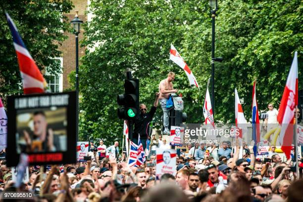 Supporters of Tommy Robinson in Whitehall during a 'Free Tommy Robinson' protest Protesters are calling for the release of English Defense League...