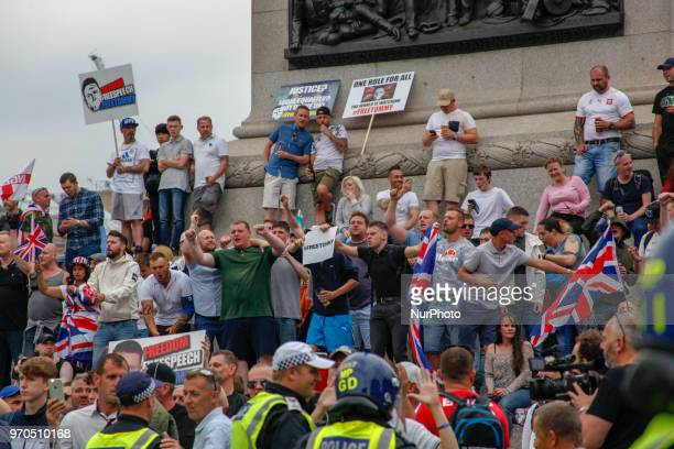 Supporters of Tommy Robinson occupy Trafalgar Square during a 'Free Tommy Robinson' protest on Whitehall on June 9 2018 in London England After the...