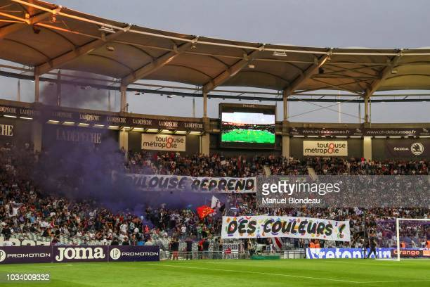 Supporters of Toulouse during the French Ligue 1 match between Toulouse FC v AS Monaco on September 15 2018 in Toulouse France
