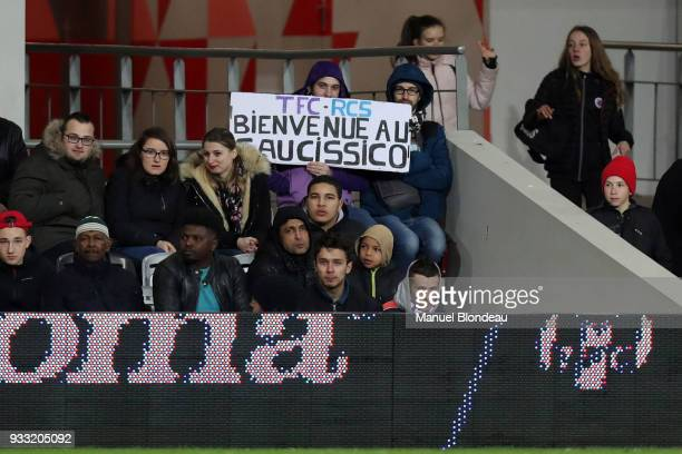 Supporters of Toulouse hold a banner during the Ligue 1 match between Toulouse and Strasbourg at Stadium Municipal on March 17 2018 in Toulouse