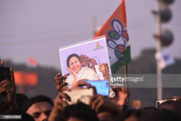 Supporters of Trinamool Congress party during The mega rally convened by Chief of AITMC political Party and West Bengal Chief Minister Mamata...