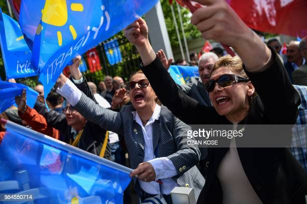 Supporters of Turkey's Iyi opposition party wave party flags as they came outside the Supreme Election Board uskudar's headquarter on May 4 2018 in...