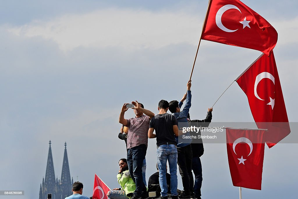 Erdogan Supporters Rally In Cologne : News Photo