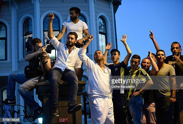 Supporters of Turkish President Tayyip Erdogan cheer during his speech in Istanbul July 16 TurkeyIstanbul's bridges across the Bosphorus the strait...