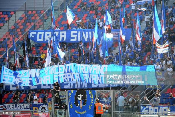 Supporters of UC Sampdoria hold a banner for Sinisa MIhajlovic head coach of Bologna FC and former head coach of UC Sampdoria prior to the beginning...
