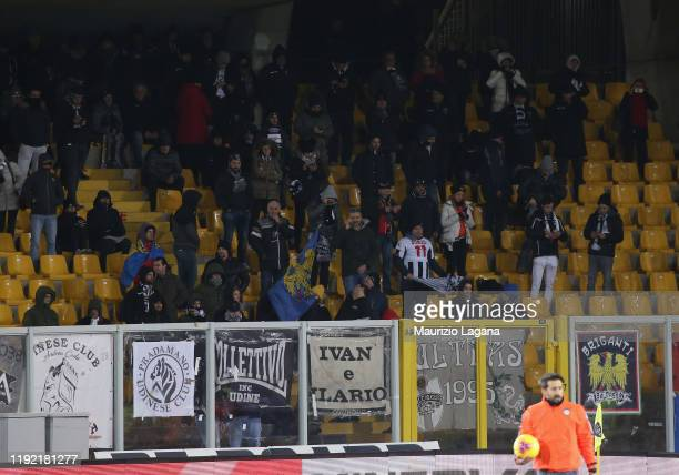 Supporters of Udinese during the Serie A match between US Lecce and Udinese Calcio at Stadio Via del Mare on January 6 2020 in Lecce Italy