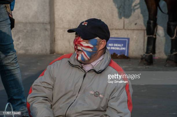 Supporters of UKIP and Tommy Robinson gather at Parliament Square on March 29, 2019 in London, England. Today pro-Brexit supporters including the...