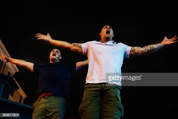 Supporters of United Kingdom's Liverpool team sing stadium chants in a pub in Campo de' Fiori Square in Rome Italy the night before UEFA Champions...