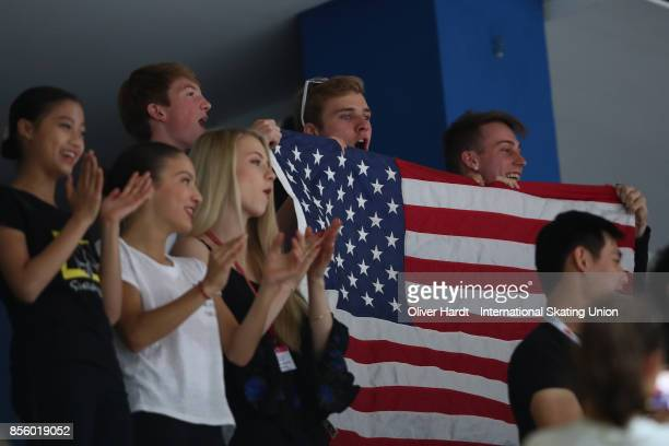 Supporters of United States during the Junior Ladies Free Skating Program during day four of the ISU Junior Grand Prix of Figure Skating at Dom...