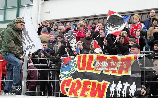 Supporters of Unterhaching watch the third league match between SpVgg Unterhaching and SC Paderborn at the Generali Arena on February 8, 2009 in...