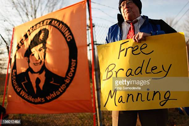 Supporters of US Army Private Bradley Manning an Army intelligence analyst hold vigil outside the gates of US Army Fort George G Meade where...