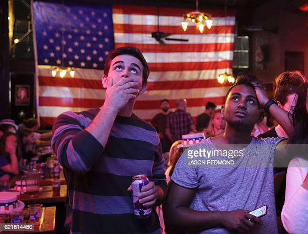 TOPSHOT Supporters of US Democratic presidential candidate Hillary Clinton watch televised coverage of the US presidential election at Comet Tavern...