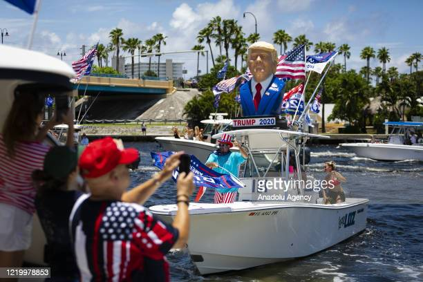 Supporters of US President Donald Trump are seen during a boat rally to celebrate his birthday at Intracoastal waterway in Deerfield Beach Florida...