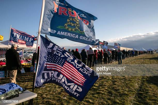 Supporters of U.S. President Donald Trump arrive to a Trump campaign rally on November 01, 2020 in Washington, Michigan. Only days before the U.S....