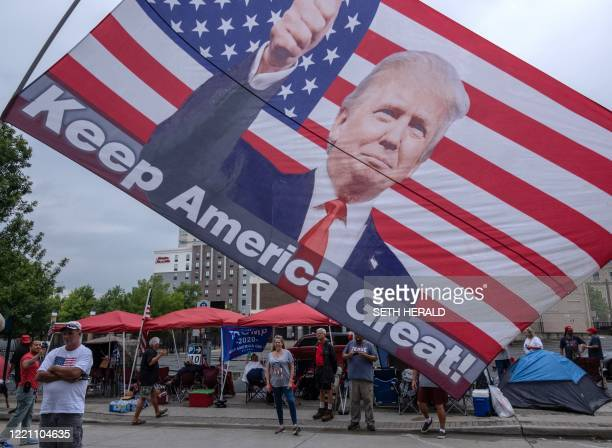Supporters of US President Donald Trump camp near the BOK Center on June 19 in Tulsa Oklahoma Trump will hold his first rally since the outbreak of...