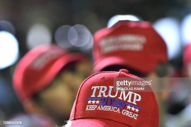 Supporters of US President Donald Trump cheer during a rally in El Paso Texas on February 11 2019