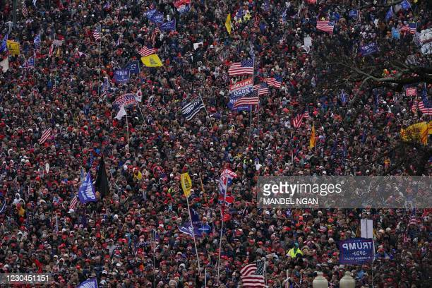 Supporters of US President Donald Trump demonstrate on the National Mall on January 6 in Washington, DC. - Demonstrators across Washington are...