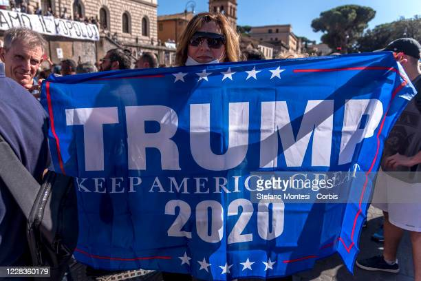 "Supporters of U.S. President Donald Trump during the protest from ""No Mask"" movements on September 5, 2020 in Rome, Italy. A demonstration organized..."