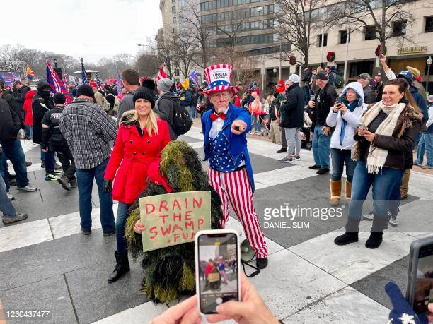 Supporters of US President Donald Trump, gather at Freedom Plaza in Washington, DC, on January 5 one day ahead of a joint session of the US Congress...