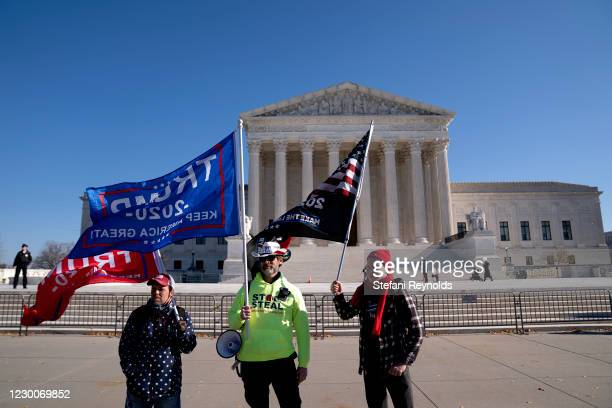 Supporters of U.S. President Donald Trump gather outside of the U.S. Supreme Court on December 11, 2020 in Washington, DC. More than 100 Republicans...