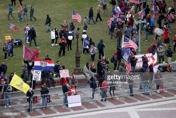 Supporters of U.S. President Donald Trump gather outside the U.S. Capitol January 06, 2021 in Washington, DC. Congress will hold a joint session...