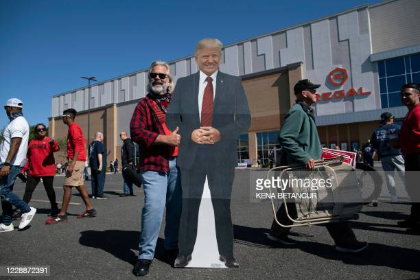Supporters of US President Donald Trump hold a rally in the New York City borough of Staten Island, on October 3, 2020.