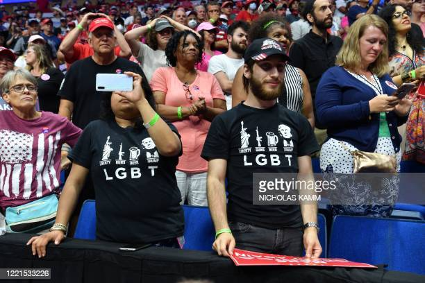 Supporters of US President Donald Trump listen to him speak during a campaign rally at the BOK Center on June 20, 2020 in Tulsa, Oklahoma. - Hundreds...