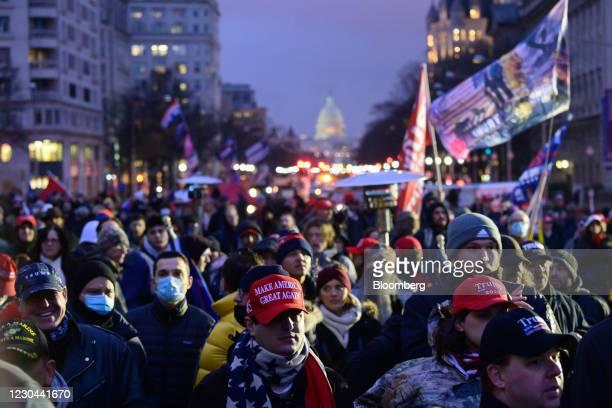 Supporters of U.S. President Donald Trump protest at Freedom Plaza in Washington D.C., U.S., on Tuesday, Jan. 5, 2021. Washington's mayor, Muriel...