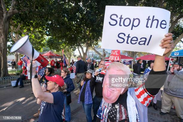 Supporters of US President Donald Trump protest in Los Angeles, California, on January 6, 2021. - Trump supporters, fueled by his spurious claims of...