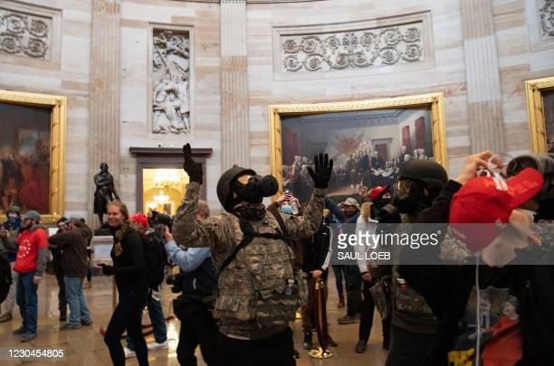 Supporters of US President Donald Trump protest in the US Capitol Rotunda on January 6 in Washington, DC. - Demonstrators breeched security and...