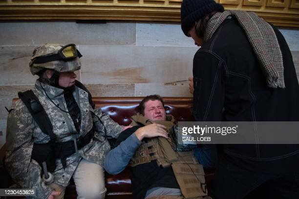 Supporters of US President Donald Trump protest in the US Capitol's Rotunda on January 6 in Washington, DC. - Demonstrators breeched security and...