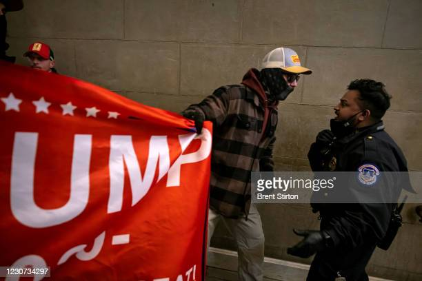 Supporters of US President Donald Trump protest inside the US Capitol on January 6 in Washington, DC. - Demonstrators breeched security and entered...