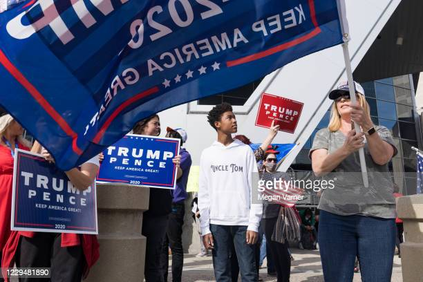 Supporters of U.S. President Donald Trump protest outside State Farm Arena as ballots continue to be counted inside on November 5, 2020 in Atlanta,...