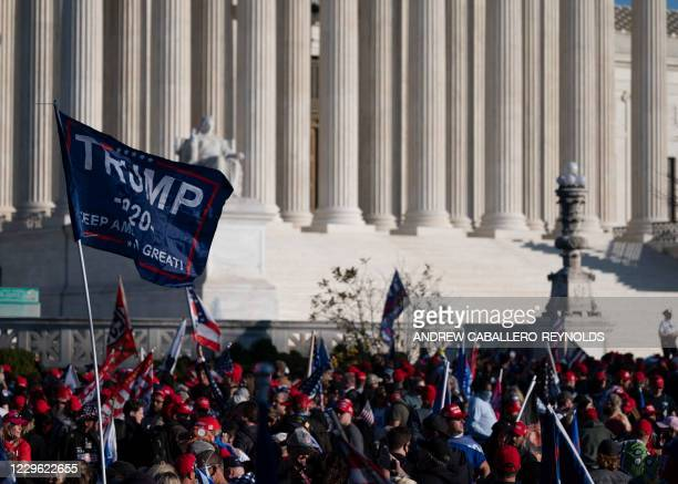 Supporters of US President Donald Trump rally at the US Supreme Court in Washington, DC, on November 14, 2020.