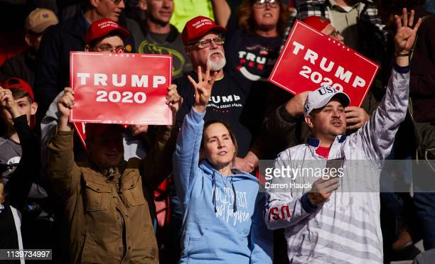 Supporters of US President Donald Trump wait to hear him speak at a Make America Great Again rally on April 27 2019 in Green Bay Wisconsin