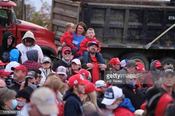 Supporters of U.S. President Donald Trump wait to hear him speaks during a campaign event on October 24, 2020 in Circleville, Ohio. President Trump...