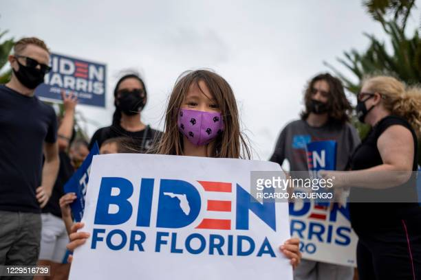 Supporters of US President-elect Joe Biden gather to celebrate the victory in the 2020 presidential election in Orlando, Florida on November 7, 2020....